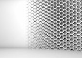 image of honeycomb  - Abstract white 3d interior with honeycomb pattern on the wall - JPG