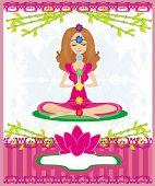 picture of padmasana  - Yoga woman in lotus pose - JPG