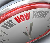 Past Now Future words on a clock to illustrate present time to get work done