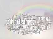 Concept or conceptual abstract business advertising and marketing word cloud or wordcloud, rainbow s