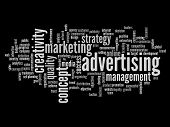 High resolution concept or conceptual abstract advertising and success word cloud or wordcloud isolated on black background