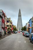 REYKJAVIK, ICELAND - AUGUST 31, 2013: A unique Hallgrimskirkja church in the heart of Reykjavik, Ice