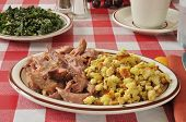 foto of pot roast  - Turkey pot roast with corn bread dressing and kale salad - JPG