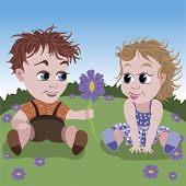 ILittle boy gives flower to small girl.