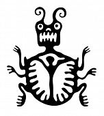 image of bestiality  - black mite or beetle in native style - JPG