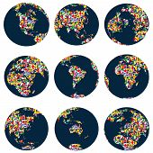 World Globes With Continents Made Of World Flags