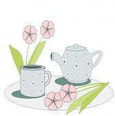Cup and Teapot with Flowers