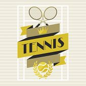 Sports background with tennis in flat design style.