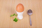 Support with egg, stalk of parsley and teaspoon