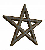 picture of pentacle  - rusty pentacle on white background  - JPG