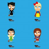 Vector Set Of Cartoon Kids With Halloween Costumes