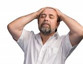 stock photo of 55-60 years old  - Portrait of an elderly man with hands held behind his head - JPG