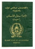 Islamic State Of Afghanistan Passport Isolated On White Background