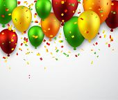 stock photo of confetti  - Celebration background with colorful balloons and confetti - JPG