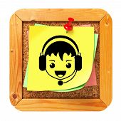 Face with Headset Icon on Message Board.