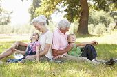 pic of grandparent child  - Grandparents with grandchildren in the country - JPG