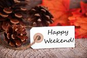 Fall Label With Happy Weekend