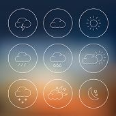Collection of thin line weather icons in flat design style