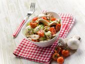 salad with champignon and tomatoes