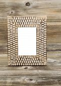 Wooden Picture Frame On Rustic Wood
