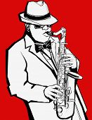 Jazz music saxophonist on a red background - Vector illustration