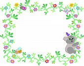 Frame of Koala Bear with Vines and Bug Friends