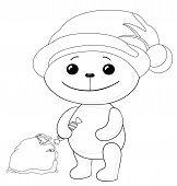 Teddy bear Santa Claus, contours