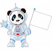 Illustration of astronaut Panda holds blank flag sign