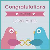 Love birds exchanging rings wedding card