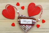 Miss  you card with red wooden and knitted hearts