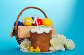 Easter basket and flowers