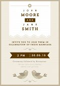 Wedding invitation gold love bird theme