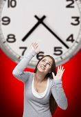 Clock And Woman With Red Background
