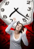 Time Pressure On A Woman With Red Background