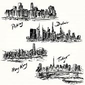 Hong Kong, Tokyo, Dubai, Peking - hand drawn collection