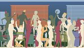 Colorful editable vector silhouettes of business people at an office party with all elements as separate objects