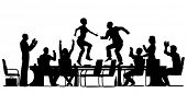 Editable vector silhouettes of business people celebrating at a meeting by dancing on the table with all elements as separate objects