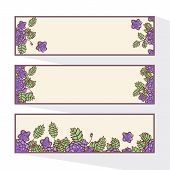 Set of banners with abstract roses