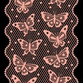 Seamless vintage fashion lace pattern with butterflies.