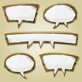 stock photo of bubble sheet  - Illustration of a set of cartoon paper blank signs on comic wooden speech bubbles for advertisement messages or game ui graphic design - JPG