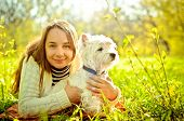 foto of west highland white terrier  - a woman with west highland white terrier - JPG