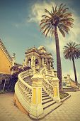 Santiago De Chile, Old Building With Palms On The Blue Sky, Vintage Retro Style.