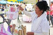 Old woman selling khao lam