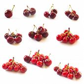 One To Ten Count. Cherries Isolated On White