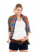 Beautiful pregnant white woman wearing shirt isolated on a white background