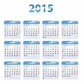 Blue Glossy Calendar For 2014 In Spanish