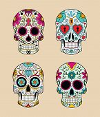 vector illustration set of skulls in mexican tradition
