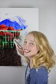 picture of strawberry blonde  - Cute blond girl wearing blue painting strawberries - JPG