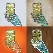 Smartphone With Hands Graphic Design. Typographic Elements For Illustrations.