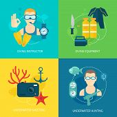 Diving icons composition